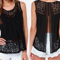S-4XL Summer Women Chiffon Crochet Lace vest Blouse Shirt Sexy Open Back sleeveless shirts tank tops Black Blusas Femininas = 1958571972