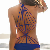 Blue Strappy Design Stretch Monokini