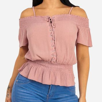 Summer Lace Up Rose Top