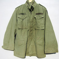 Vtg Military Army Jacket Coat Fatigue Green Grunge Punk Worn Faded Distressed S