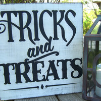 Trick or Treat Wooden Sign,Halloween Decoration,Halloween Party Decor,Halloween Sign,Fall Signs,Halloween Signs,Fall Porch,Front Porch Decor