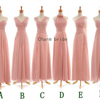 Various styles of chiffon bridesmaid dress floor length wedding bridesmaid dresses cheap formal prom gowns party dresses