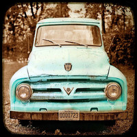 Car Photography Home Decor Vintage Auto Americana Wall Art Fine Art Photography Rust Teal Truck -  Overstock Sale - Large 30x30
