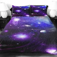Anlye the Gift Ideas for Women Star Bedding Sets 2 Sides Printing Design Style of the Blue Linens Coverlet with Throw 2 Pillow Covers Full