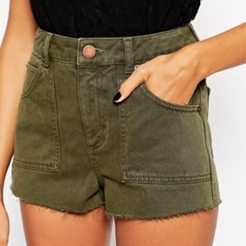 ASOS Denim Khaki Utility Patch Pocket Short
