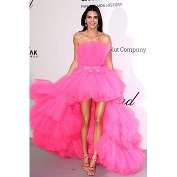 Kendall Jenner Pink Tulle High-low Tiered Prom Celebrity Dress Formal Gown