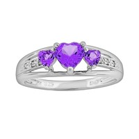 Sterling Silver Amethyst & Diamond Accent Heart 3-Stone Ring (Purple)