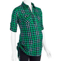Walmart: Oh! Mamma Maternity Plaid Shirt with Adjustable Side Drawstring