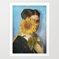 Girl with Sunflower 2 Art Print by Diogo Verissimo