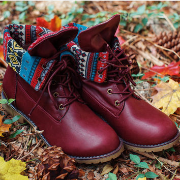 Victory Aztec Boots - Burgundy