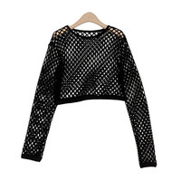 Netted Crop Knit Top