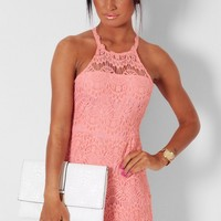 Deanna Peach Lace Overlay Playsuit | Pink Boutique