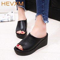 Woman Summer Thick Bottom Slippers Women Fashion Casual Fish Mouth Sandals Non-Slip Leisure Shoe