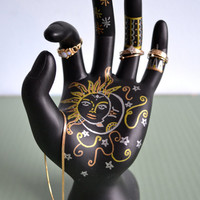 Celestial Jewelry Display - Sun & Moon - Hand-Painted Ring Holder, Jewelry Storage, Dresser Decoration. Gold / Silver / Rose Gold.