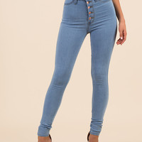 Hot Button High-Waisted Skinny Jeans