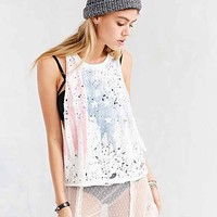 Truly Madly Deeply American Flag Muscle Tee- Ivory