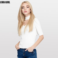 New 2016 Ctue Style Pure Color Woman Sweater V-neck Half Sleeve Casual Knitted Sweater Women Slim Fit  Knitwear Pullovers