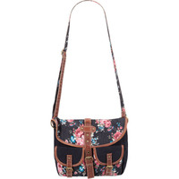 Floral Canvas Crossbody Bag Black Combo One Size For Women 20816214901
