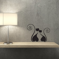 Black silhouette of two cats in love wall decal, decal, wall graphic, vinyl decal, vinyl graphic wall decal, graphic image, home decor