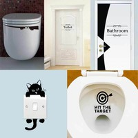 1pcs Toilet Sticker Bathroom Wall Stickers Home Decoration Light Switch Wall Decals For Toilet Door Decal For Shop Office Cafe