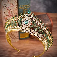 Large Baroque Vintage Green Royal Blue Crystal Queen Crown