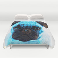Blue Pug Dog Pop Art by Sharon Cummings Duvet Cover by Sharon Cummings