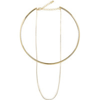 River Island Womens Gold tone chain two layer necklace