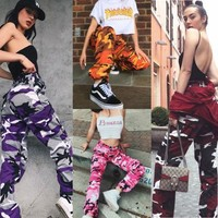 Fashion Womens Camo Cargo Trousers Casual Pants Military Army Combat Camouflage Jogger Pants
