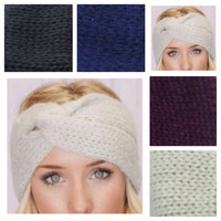 Turban Twist Thick Knit Ivory,Navy,Charcoal or Plum Headbands, HeadWraps, Ear Warmers
