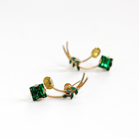 Vintage Sterling Silver Simulated Citrine & Emerald Screw Back Earrings - 1940s Gold Wash Foiled Back Stones with Green Enamel Leaves