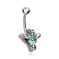 Dragon's Claw Paragon Belly Button Ring (Clear)