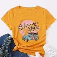 Car And Letter Graphic Shirt Top Tee