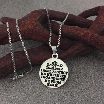 Guardian Angel Prayer Silver Stamped Silver Charm Pendant Necklace Trendy Inspirational Protection