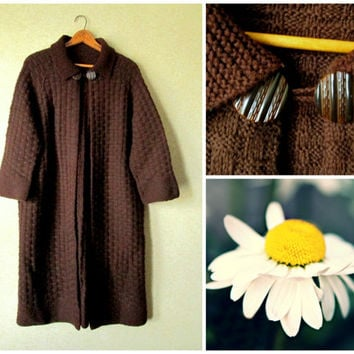 Sweater Coat chocolate brown hand knit wool cardigan handknit jacket vintage 50s 60s Mad Men style women medium large