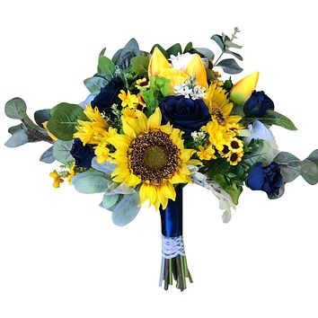Large vintage wedding bouquet - Sunflowers, Tulips, and Silver Dollar Eucalytus Yellow and Navy Blue Bouquet
