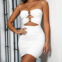Hot Sexy Dresses Hollow Sleeveless Backless Women's Button Folded Dresses White