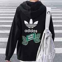 Adidas New fashion letter leaf print hooded long sleeve coat cardigan Black