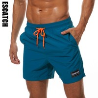 ESCATCH Board Shorts Men Breathable Sport Swimming Shorts Solid Color Elastic Waist Beach Shorts Summer Swim Shorts