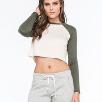 Full Tilt Womens Cropped Raglan Tee Olive  In Sizes