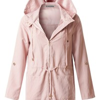 LE3NO Womens Lightweight Zip Up Hoodie Utility Parka Jacket with Pockets (CLEARANCE)