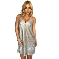 Champagne Sparks Sequin Party Dress
