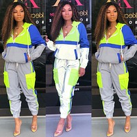 Fashionable new women's hooded sportswear suit 2 pieces
