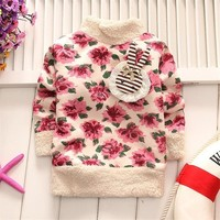 BibiCola 2017 New Winter  Spring Toddler  Thick velvet  Sweater Baby Girls Pullover  Sweater printed floral  Kids clothing