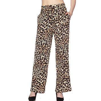 High Waisted Leopard Print Palazzo Pants