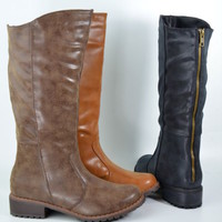 Women's Riding Boots Mid Calf Back Zipper Faux Leather Black Tan or Brown New