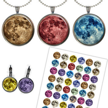 Full Moon images for Jewelry Making, Scrapbooking, Bottle caps Printable Digital Collage Sheet