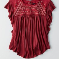 AEO Women's Embroidered Top