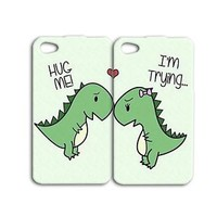 Cute Funny Best Friends Dinosaur Pair Case iPod iPhone White Phone Cool Cover