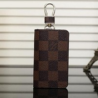 Louis Vuitton LV Fashion Leather Zipper Car Key Wallet Case Cover Bag