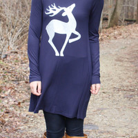 Fly to the Sky Glitter Reindeer Tunic Top - Navy